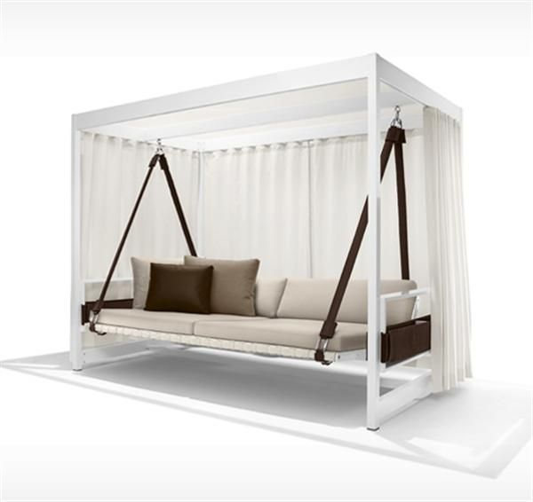 Superior Outdoor Swing With Frame For Curtains...but For A Hammock Instead