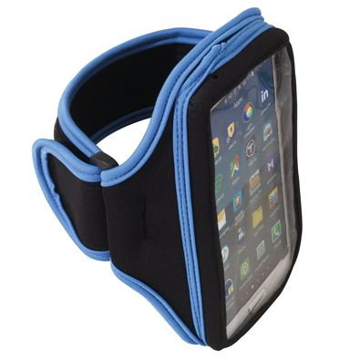 """ARMBAND CELL PHONE HOLDER: The lightweight, breathable neoprene material has a Velcro® closure that has openings at each end for headphone connection. Slim, lightweight and stretchable neoprene material is water resistant. Comes with a reflective stripe for safety. Fits cell phones up to 5-1/2"""" long. Measures 6-1/4"""" long. Item No: 41496; Price: $8.99"""