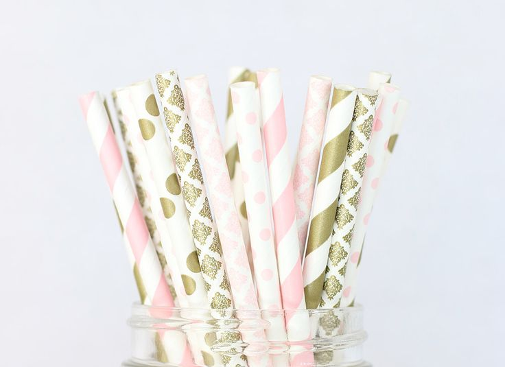 Blush Pink and Gold Paper Straws, Shabby Chic Rustic Wedding Decor, Gold and Blush Baby Shower or Buffet Table, Wedding Party Decorations by SocialBashAndCo on Etsy https://www.etsy.com/ca/listing/400030009/blush-pink-and-gold-paper-straws-shabby