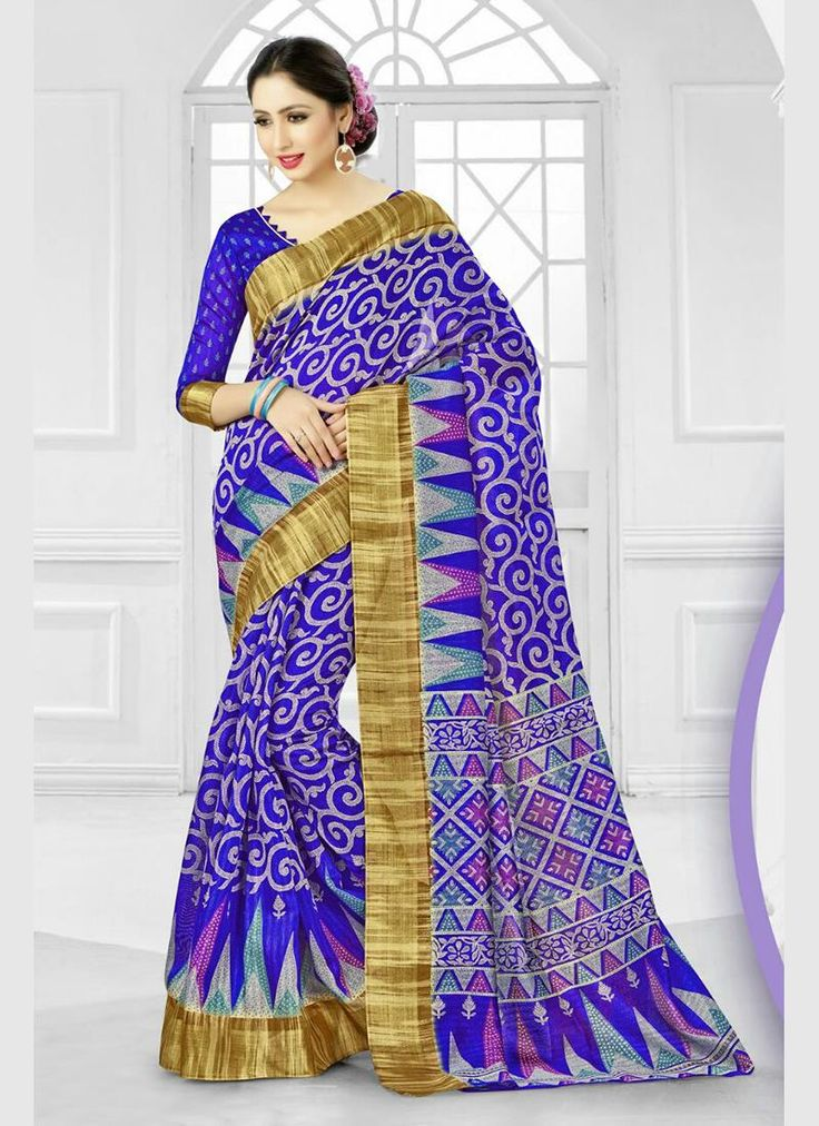 Buy latest indian bridal saree collection. Grab this bedazzling patch border and print work printed saree for festival and party.