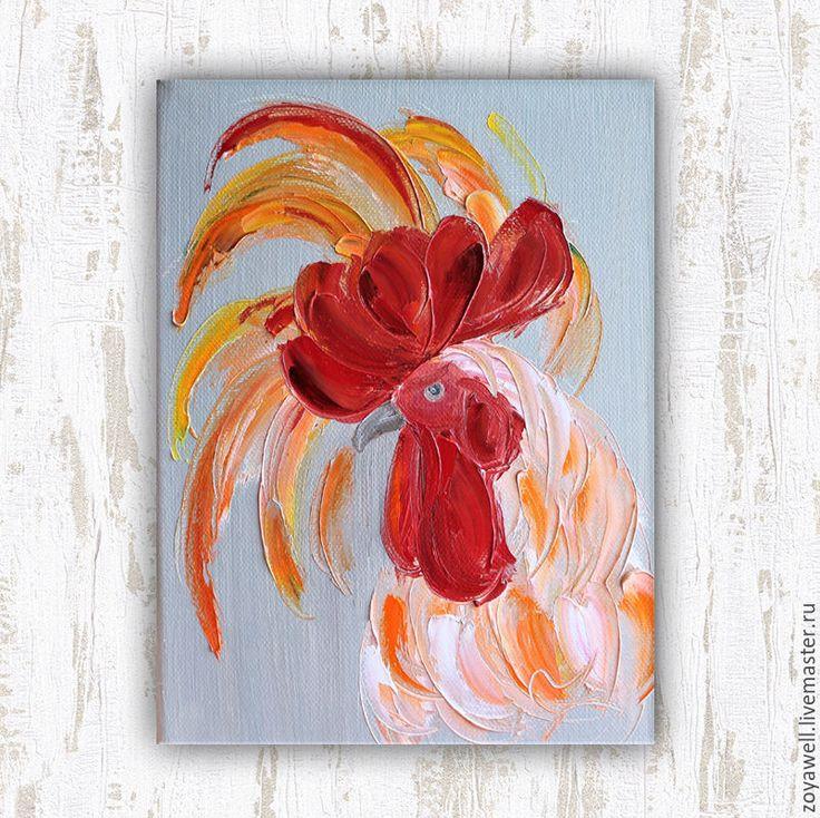 """Купить """"Петушок с огоньком"""" - картина маслом с петухом - коралловый, петух символ 2017 года, петух"""