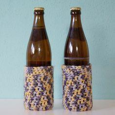Flaschenwärmer Flaschenkühler Bierflasche Manschette häkeln Anleitung kostenlos 2 Flaschen