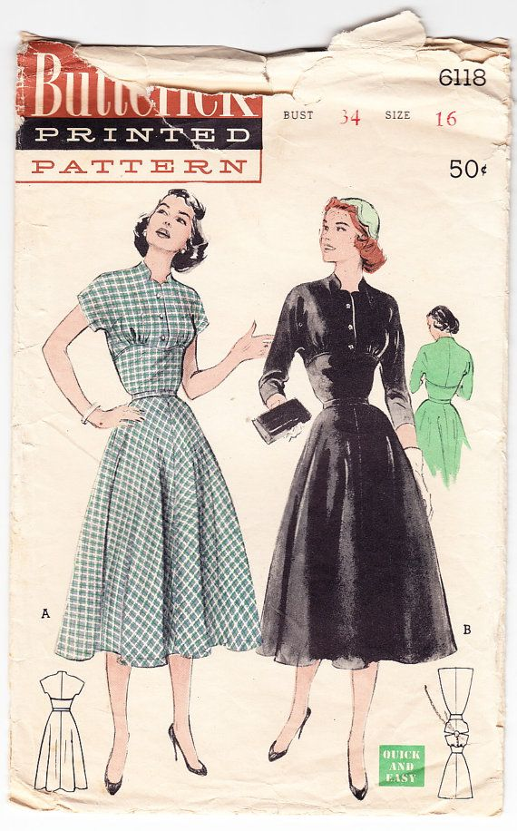 Vintage 1953 Butterick 6118 A soft casual with the new Empire effect is so flattering to the figure. The sleeves are cut-in-one with the