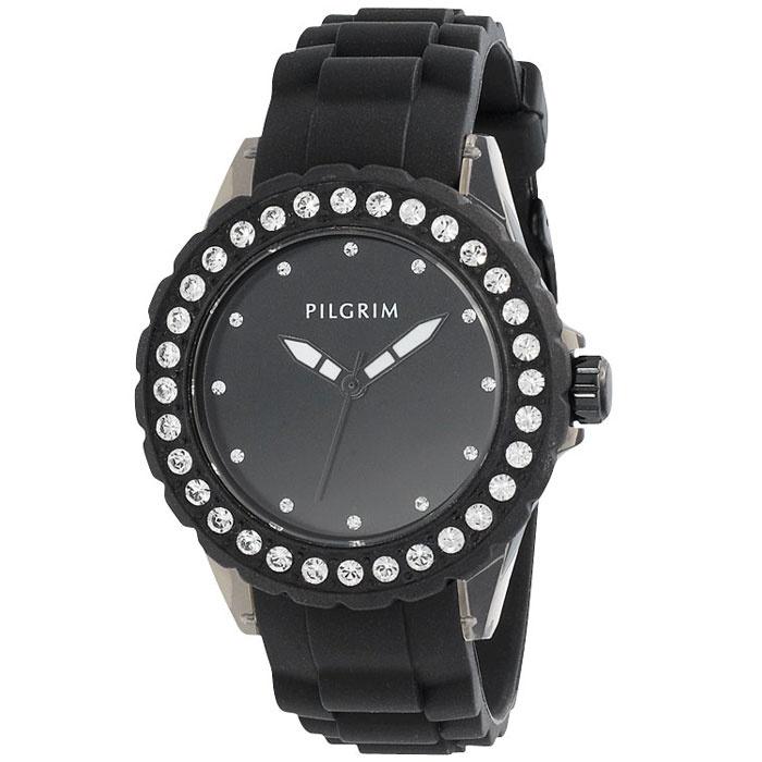 Pilgrim Hermatite Black Rubber Watch With Crystals|lizzielane.co.uk £44.