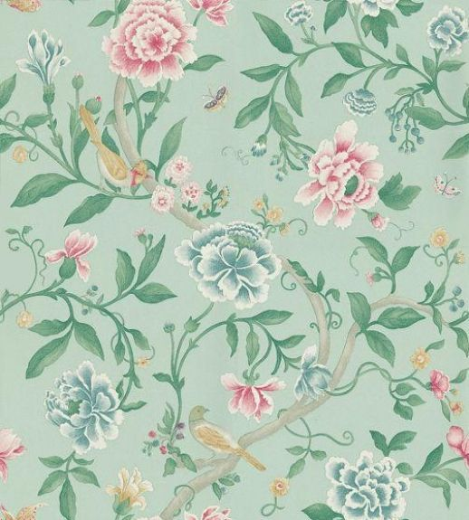 Porcelain Garden Rose/Duck Egg (DCAVPO103) - Sanderson Wallpapers - Inspired by early 19th C hand-painted Chinese wallpapers, with peony blossoms and birds as if painted in soft watercolours and pastels. Shown in the Rose pink and Duck Egg blue green colourway. Wide width. Please request sample for true colour match.
