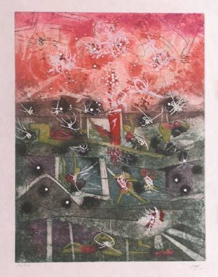 "Matta ""Hom'mère III. L'Ergonaute: ""Tranchetre"""", 1977. Aguafuerte y aguatinta sobre Cobre de  49,5 x 37,5 cm., Papel Japón nacarado (suit) de 250 gr. de medidas 67 x 51,5 cm. Ej.:  100 + XXV HC (Arches) / suite 100 + 10 EA + XXV HC (Japón nacarado)  #art #etching"