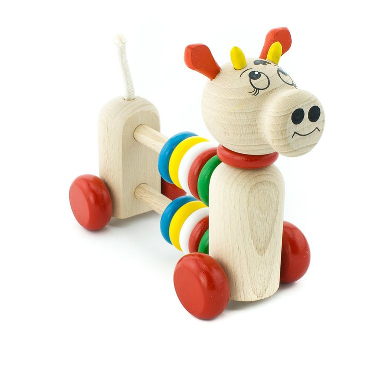 Wooden Push Along Cow With Counting Beads - Helga