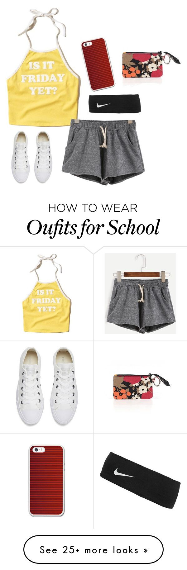 """Shirt explains me at school"" by gemini-lady on Polyvore featuring Hollister Co., Converse, NIKE and Vera Bradley"