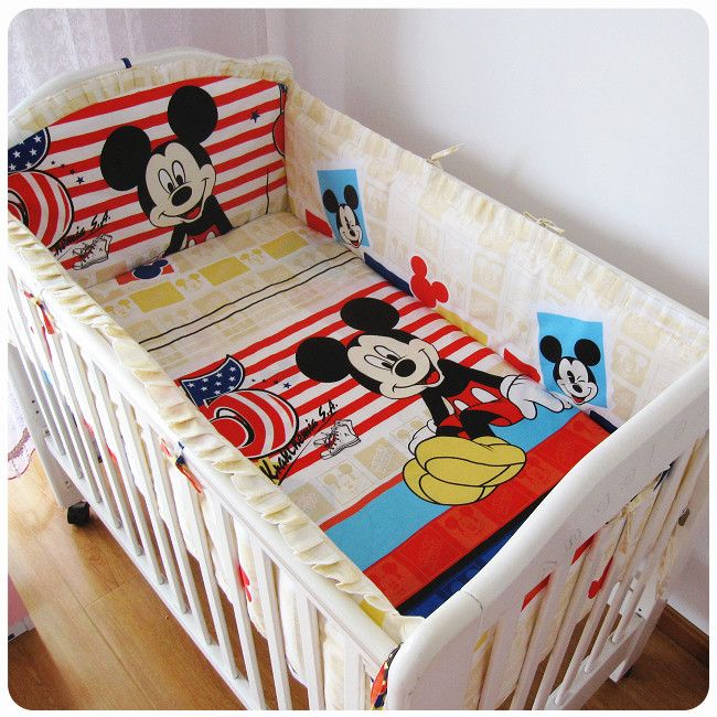 Promotion! 6PCS Mickey Mouse Baby Cot Bedding Set Newborn Cartoon Bear Crib Bedding Detachable (bumpers+sheet+pillow cover)