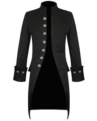 Pentagramme Para Hombre Chaqueta Negro Brocade gótico steampunk victoriana Levita