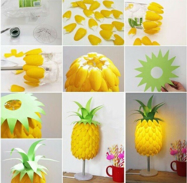 Diy Pineapple Lamptake Plastic Spoons And Paint Them Yellow
