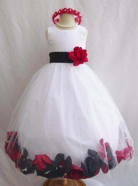 black and red flower girl dresses - Website where you can order 2 different colors according to your wedding theme! Perfect!