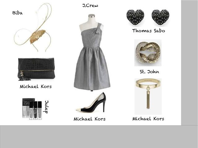 silver wedding guest outfit plus gold and black accessories www.yourweddingcompany.blogspot.com