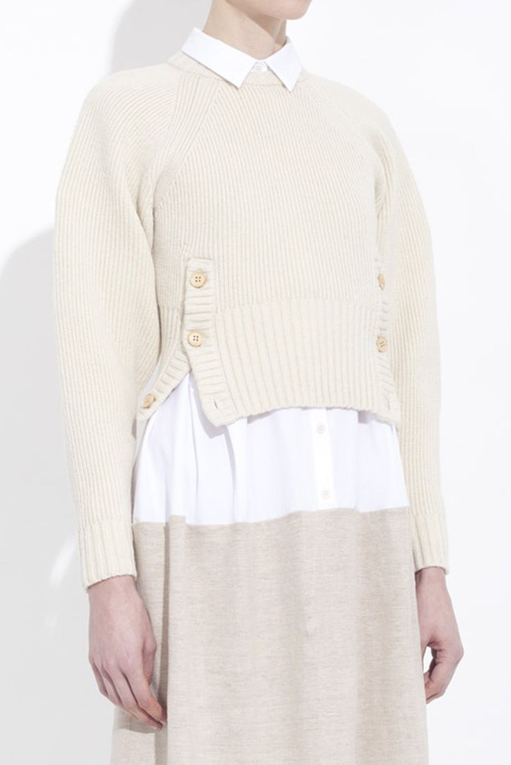 FITTED RECYCLED WOOL KNIT SWEATER honest by. BRUNO PIETERS