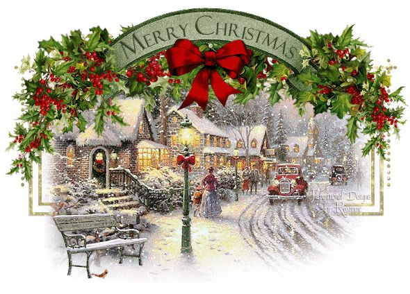 Merry Christmas victorian village snow arch