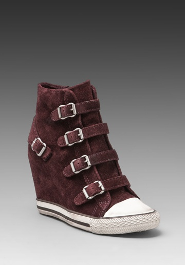 ASH United Wedge Sneaker in Calf Suede Prune at Revolve Clothing