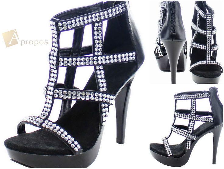 High Heel Sandale 11cm Damen Flats Elegant Schwarz Strass Booty Apropos