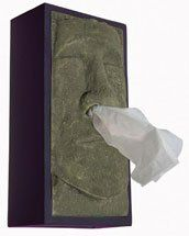Kind of gross, but genius - Tiki Head Tissue Box Cover. Love it!