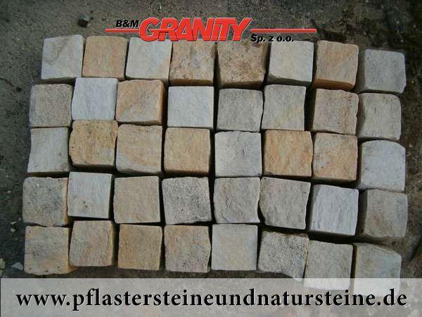 Firma B&M GRANITY - gesägt-gespaltene Pflastersteine aus polnischem Sandstein (Sandstein-Pflastersteine) http://www.pflastersteineundnatursteine.de/fotogalerie/pflastersteine/