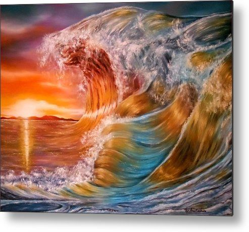 Metal Print,  water,ocean,scene,waves,nature,seascape,sunset,sunrise,rough,crashing,breaking,splashing,big,high,vivid,colorful,multicolor,bright,gold,golden,orange,impressive,scene,fantasy,spray,light,beautiful,image,fine,oil,painting,contemporary,scenic,modern,virtual,deviant,wall,art,awesome,cool,artistic,artwork,for,sale,home,office,decor,decoration,decorative,items,ideas