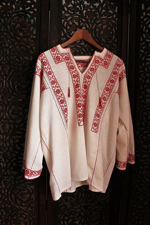antique ethnic red cross stitch romanian blouse