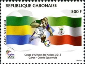 Flags of Gabon and Equatorial Guinea and mascot: Dribbling b