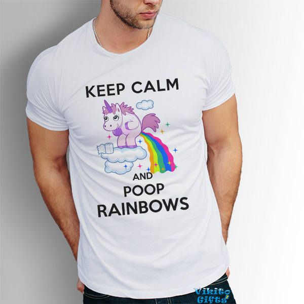 Keep Calm And Poop Rainbows Mens funny tshirt Pooping Unicorn Graphic Tee  summer party gift for