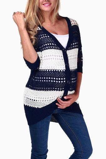 Navy Blue White Striped Maternity Cardigan