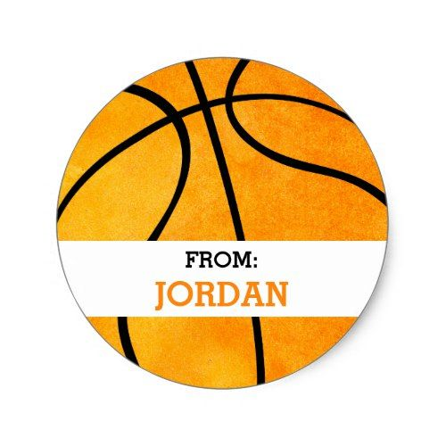 Basketball Personalized From Sports Themed Party Classic Round Sticker