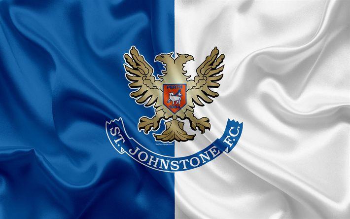 Download wallpapers St Johnstone FC, 4K, Scottish Football Club, logo, emblem, Scottish Premiership, football, Perth, Scotland, UK, silk flag, Scottish Football Championship
