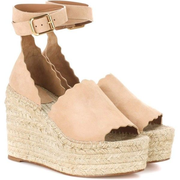 Chloé Lauren Suede Wedge Espadrilles ($860) ❤ liked on Polyvore featuring shoes, sandals, beige, wedge heel sandals, espadrille wedge sandals, wedge sandals, chloe sandals and suede sandals