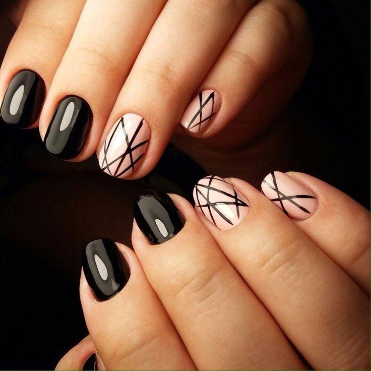 Дизайн коротких ногтей 2017, Идеи черного маникюра, Классический маникюр на…