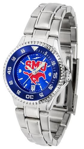 Southern Methodist University Mustangs Ladies Watch Stainless Steel Wristwatch
