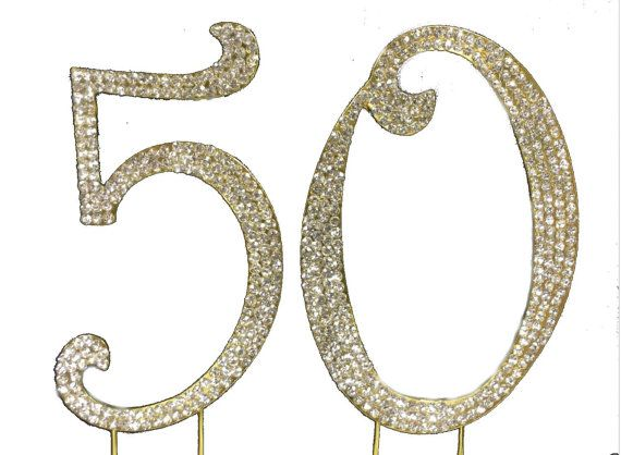 Crystal Cake Toppers GOLD 50th Anniversary Cake Topper by Yacanna