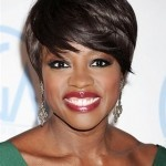 http://bit.ly/HBpGvV    Viola Davis's Long Pixie WHAT TO ASK FOR: A pixie cut with long layers and sweeping bangs. Run a small amount of styling wax through the ends of your fringe to give the different lengths movement. Photo: Jeffrey Mayer/WireImage