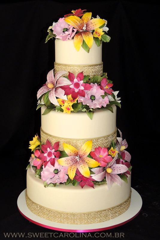 Wedding cakes, 5 andares, flores de açúcar, cores, flores coloridas, marfim e dourado, bolo de casamento