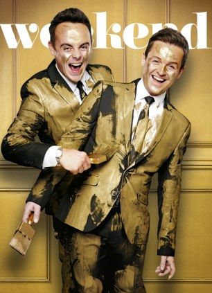 Ant and Dec Saturday Night Take Away 2014 | Ant and Dec got messy with gold paint for the cover of The Daily Mail ...