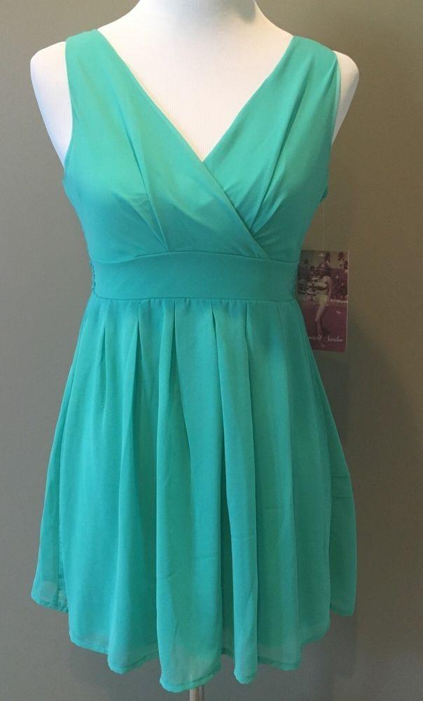 Emerald Sundae Teal Green Dress Juniors Size 3 Back Zip #EmeraldSundae