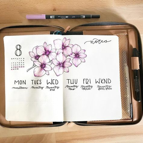 Bullet journal weekly layout, flower drawing, orchids drawing. | @allorasbujo