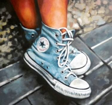 Buy Blue Converses, a Oil on Canvas by Thomas Saliot from France. It portrays: Women, relevant to: sneakers, blue, allstar, converse, hey beybeybeybeyheyheyheyheyheyehyehyehyehyheyehyehyehyehye