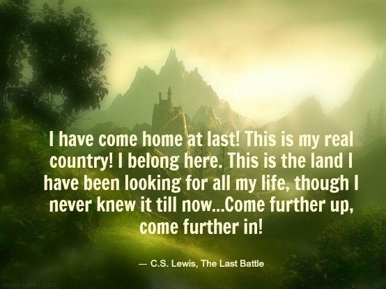 Further up and further in... C.S. Lewis The Last Battle