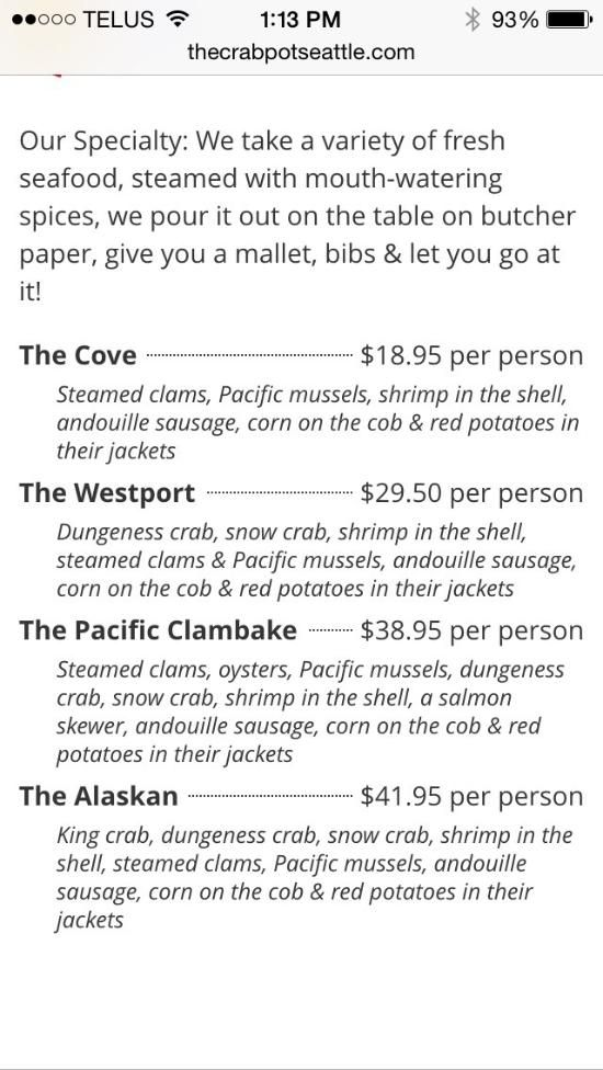 The Crab Pot Seafood Restaurant, Seattle - Menu, Prices & Restaurant Reviews - TripAdvisor