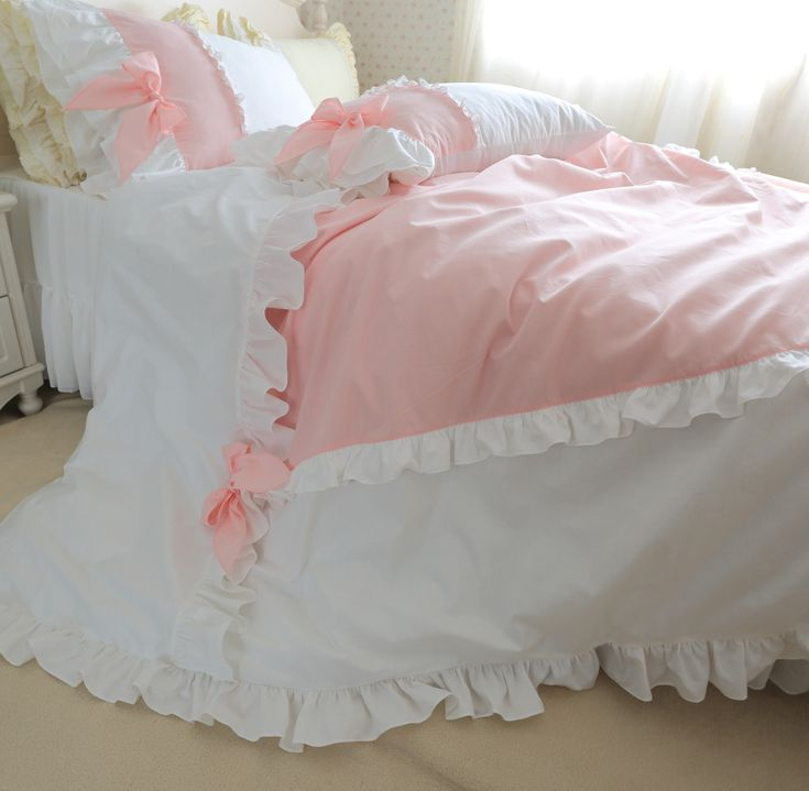 Find More Information about luxury pure cotton 4pcs bedding kit princess duvet cover set pink and white ruffle color with bow girls romantic home bedding ,High Quality cover board,China bedding duvet cover Suppliers, Cheap bedding sets queen comforter from Queen King Bedding Set  on Aliexpress.com