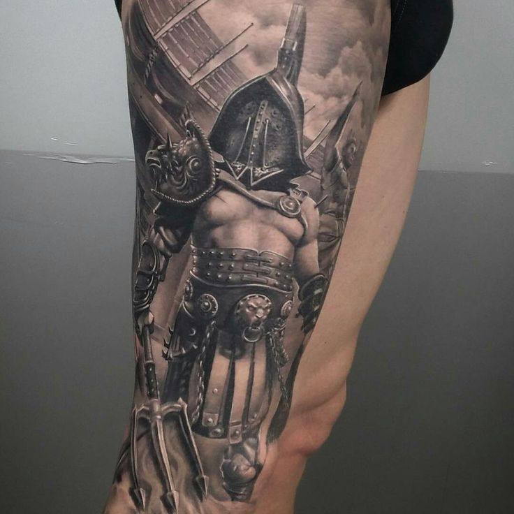 Tattoo done by: Brian Flores #gladiator #gladiador #gladiatortattoo