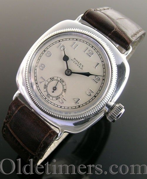 1920s early silver cushion vintage Rolex Oyster watch