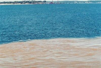 Encontro do Rio Negro com o Rio Solimões formam o maior rio do mundo! Durante os primeiro 18 km do Rio Amazonas as águas do Rio Negro e do Solimões não se misturam.  Divisa dos Rios Negro e Limões, Amazônia/ Brasil