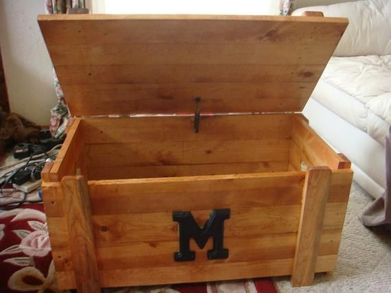 Custom Built Wooden Toy Box Blanket Chest With Monogram Etsy Wooden Toy Boxes Toy Boxes Wooden Toy Chest