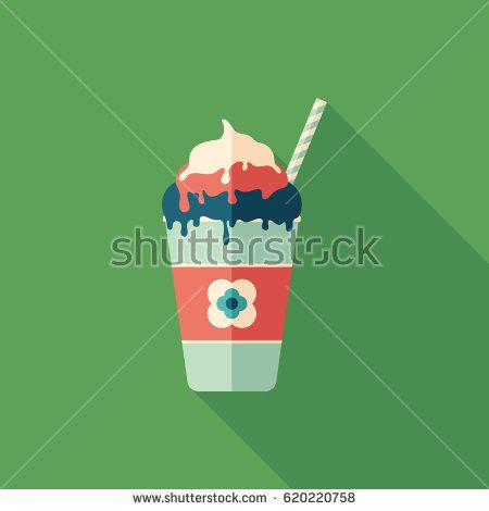 Cotton candy frozen yogurt flat square icon with long shadows. #foodicons #summericons #flaticons #vectoricons #flatdesign