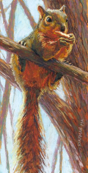 """Rita Kirkman    """"Just Hangin' and Snackin'"""" (pastel, 12x6 inches)"""