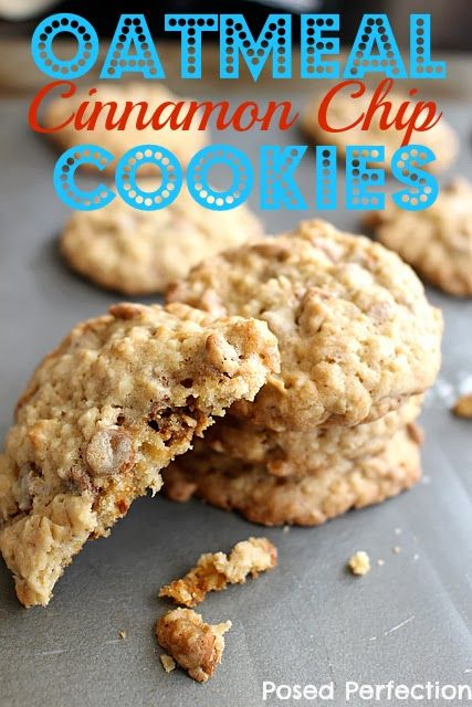 Oatmeal Cinnamon Chip Cookies by Posed Perfection. A change from the standard Oatmeal Cookie, this is going to be a new favorite!
